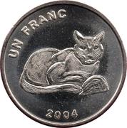 1 Franc (African Golden Cat) – reverse