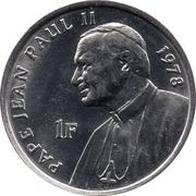 1 Franc (Pope John Paul II in 1978) – reverse