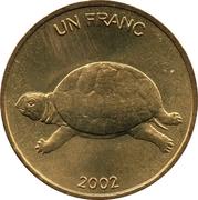 1 Franc (Turtle) – reverse