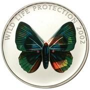 5 Francs (Butterfly green-blue) – reverse