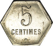 5 Centimes (French Overseas Department) – reverse