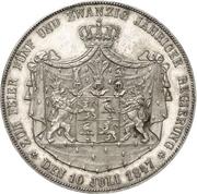 2 Thaler / 3½ Gulden - Heinrich LXXII (Silber Jubilee) – reverse