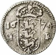 1 Rundstück - Carl XI (With cross and with value) – reverse