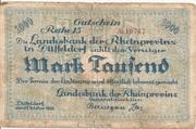 1,000 Mark (Landesbank der Rheinprovinz) – obverse