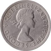 ½ Crown - Elizabeth II (1st portrait) – obverse
