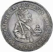 1 Dalderi - Gustav II Adolf (Looking up) – obverse