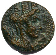 Bronze Drachm of Tyre (Tyche and palm tree, 3rd type) – obverse