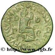 Dupondius - Tiberius (TI CAESAR DIVI AVG F AVGVST IMP VIII; Utica) -  reverse