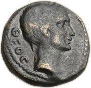 As (Octavius and Julius Caesar; Macedonia) – obverse