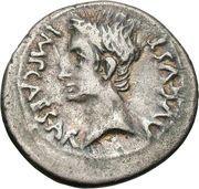 Denarius - Augustus (P CARISIVS LEG PRO PR EMERITA; Emerita Augusta) – obverse