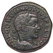 Sestertius - Gordianus III (P M S COL VIM, Viminiacium colony) – obverse