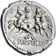Denarius (Servilia: Gaius Servilius; ROMA / C•SERVEILI•M•F) -  reverse