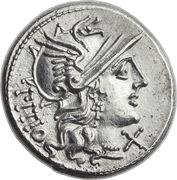 Denarius (Sempronia: Lucius Sempronius Pitio; PITIO / L SEMP ROMA) -  obverse