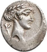 Denarius (Pomponia: Quintus Pomponius Musa; Q•POMPONI MVSA; Euterpe) -  obverse