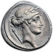 Denarius (Pomponia: Quintus Pomponius Musa; Q•POMPONI MVSA; Melpomene) -  obverse