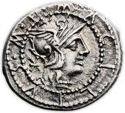 Denarius (Acilia: Manius Acilius; M•ACILIVS•M•F• / ROMA) -  obverse