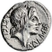 Denarius (Caecilia: Lucius Caecilius Metellus; L•METEL•A•ALB•S•F / C•MALL ROMA) -  obverse