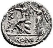 Denarius (Caecilia: Lucius Caecilius Metellus; L•METEL•A•ALB•S•F / C•MALL ROMA) -  reverse