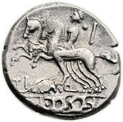 Denarius (Quinctia: Titus Quinctius; TI Q D•S•S) -  reverse
