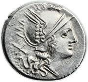 Denarius (Lutatia: Quintus Lutatius Cerco or Catulus; QLC ROMA) -  obverse