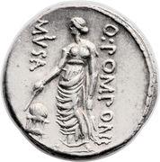 Denarius (Pomponia: Quintus Pomponius Musa; Q•POMPONI MVSA; Urania) -  obverse