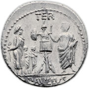 Denarius (Aemilia: Lucius Aemilius Lepidus Paullus; PAVLLVS•LEPIDVS CONCORDIA / TER PAVLLVS) – reverse
