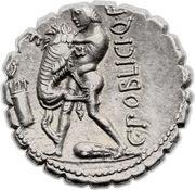 Denarius serratus (Poblicia: Gaius Poblicius; ROMA / C•POBLICI•Q•F) -  obverse