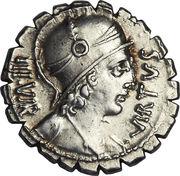 Denarius serratus (Aquillia: Manius Aquillius; VIRTVS III•VIR / MN•AQVIL MN•F•MN•N SICIL) -  obverse