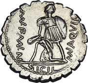 Denarius serratus (Aquillia: Manius Aquillius; VIRTVS III•VIR / MN•AQVIL MN•F•MN•N SICIL) -  reverse