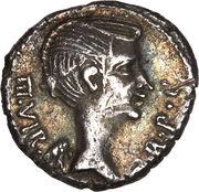 Quinarius - Fulvia (III•VIR R•P•C / ANTONI A XLI IMP; Lugdunum mint) -  obverse