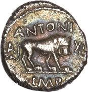 Quinarius - Fulvia (III•VIR R•P•C / ANTONI A XLI IMP; Lugdunum mint) -  reverse
