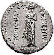 Denarius - Scipio (Q•METEL•PIVS SCIPIO•IMP C•T A/ P•CRASSVS•IVN LEG•PRO•PR) -  obverse