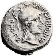 Denarius - Gnaeus Pompeius (M•POBLICI•LEG PRO•PR / CN•MAGNVS•IMP) -  obverse