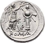 Victoriatus (Anonymous; ROMA ; letters on reverse) – reverse