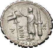 Denarius serratus (Postumia: Aulus Postumius Albinus; HISPAN / A•POST•A•F•S•N ALBIN) -  obverse