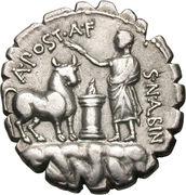 Denarius serratus (Postumia: Aulus Postumius Albinus; A•POST•A•F S•N•ALBIN) -  obverse