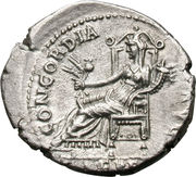 Denarius - Titus (CONCORDIA AVG; Strike as Caesar under Vespasian; Ephesus) – reverse