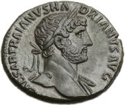 As - Hadrianus (PONT MAX TR POT COS III; Genius) – obverse