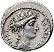 Denarius (Cassia: Quintus Cassius Longinus; LIBERT Q•CASSIVS / AC) – obverse