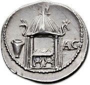 Denarius (Cassia: Quintus Cassius Longinus; LIBERT Q•CASSIVS / AC) – reverse