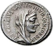 Denarius (Fonteia: Publius Fonteius Capito; P•FONTEIVS•CAPITO•III•VIR•CONCORDIA / T•DIDI•IMP•VIL•PVB) – obverse