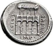 Denarius (Fonteia: Publius Fonteius Capito; P•FONTEIVS•CAPITO•III•VIR•CONCORDIA / T•DIDI•IMP•VIL•PVB) – reverse