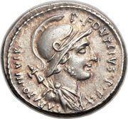 Denarius (Fonteia: Publius Fonteius Capito; P•FONTEIVS•P•F CAPITO•III•VIR / MN•FONT•TR•MIL) – obverse
