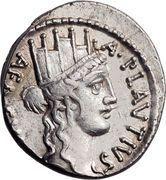 Denarius (Plautia: Aulus Plautius; A•PLAVTIVS AED•CVR•S•C / BACCHIVS IVDAEVS) – obverse