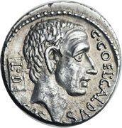 Denarius (Coelia: Gaius Coelius Caldus; C•COEL•CALDVS COS L•D / CALDVS•III•VIR) – obverse
