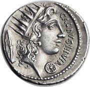 Denarius (Coelia: Gaius Coelius Caldus; C•COEL•CALDVS COS L•D / CALDVS•III•VIR) – reverse