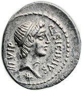 Denarius (Sicinia: Quintus Sicinius; Q•SICINIVS III•VIR / C•COPONIVS PR•S•C) – obverse