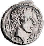 Denarius (Coelia: Gaius Coelius Caldus; C•COEL•CALDVS COS HIS / L•CALDVS VII•VIR•EPVL C•CALDVS I MP•A•X CALDVS•III•VIR) – obverse