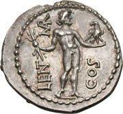 Denarius (Cornelia: Lucius Cornelius Lentulus Crus; LENT MAR COS; Apollonia-Mordiaeum mint) – reverse
