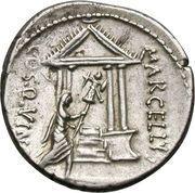 Denarius (Cornelia: Publius Cornelius Lentulus Marcellinus; MARCELLINVS / MARCELLVS COS•QVINQ) – reverse